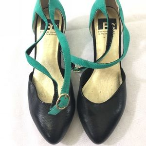 BC because music is my heart turquoise black heel